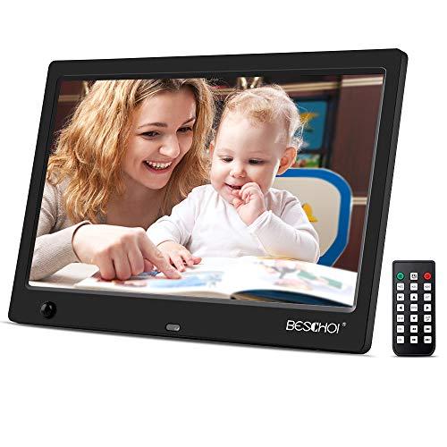 Beschoi 10 Zoll Digitaler Bilderrahmen HD 1080P Full Display 16:9 Format mit Bewegungssensor, Foto Musik Video Kalender E-Book Alarm Auto on/Off Timer mit Fernbedienung