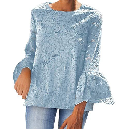 Tyoby Damen Sexy Rüschen Spitzenabschluss Plissee Lautsprecher Langarm Hohl Oberteil Hemd Skin-Friendly Blumenblume Schnitt Tops(Blau,XXL) -