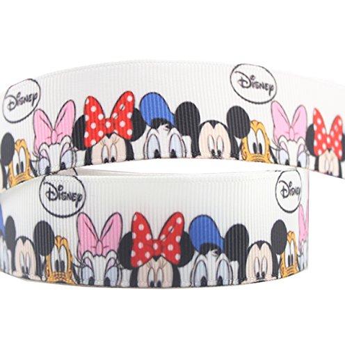 Dekoband, Ripsband, Motiv: Disneyfiguren, 2 m x 22 mm, ideal für Kuchen, Geschenke, Karten, als Haarbänder, Dekoration, Schuhbändel