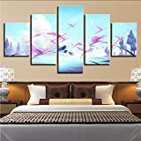 gwgdjk Decor Room Wall Art Painting Stampato 5 Pezzi Cranes Animals Albero E Blue Sky White Cloud Scenario Canvas Picture Poster Modulare-30X40/60/80Cm,Without Frame
