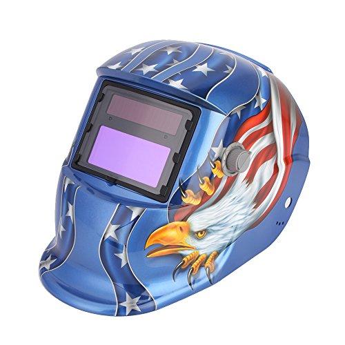 Cocoarm Schweißhelm Automatisch Verdunkelnd Solar Schweißmaske Welding Helmet Schweißschirm Schweißschild mit 2 Sensoren UV/IR-Schutz DIN 16 43x93mm Großes Sichtfeld