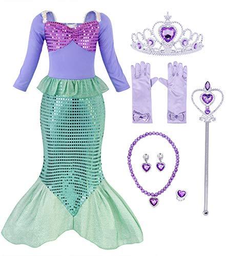 AmzBarley Disfraz Pequeña Sirena Sirenita Ariel Niña