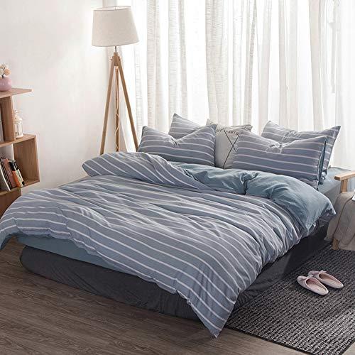 Tancurry Trendy 4-Teilige Bettwäsche Kissenbezug Bettbezug Kariert Gestreift Muster (Blau-Stripe, 180x220(Bettdeckenbezug)) (Muster Blau Bettwäsche)