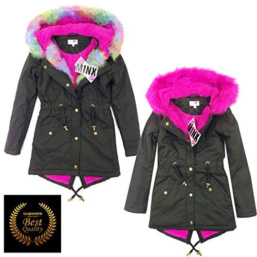 Get New Premium Quality Girls Parka Jackets Faux Fur Trim Hood ...