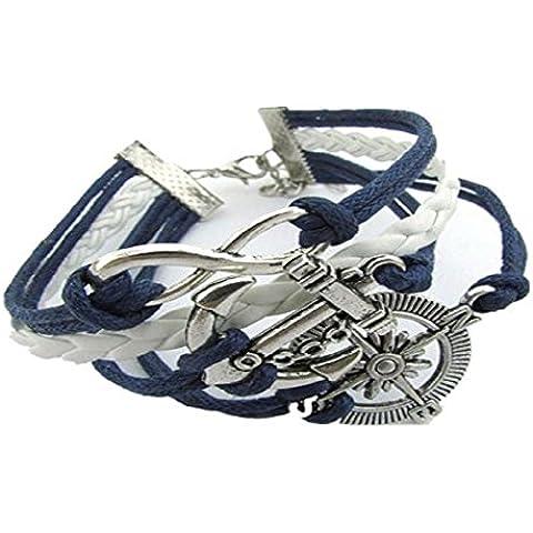 Toraway Pulsera de plata del infinito Amor caliente del ancla Compás decoración de cuero del encanto de la Multi-raya plateada