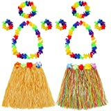 Shappy Falda de Hierba de Hula con Set de Disfraces de Guirnalda de Flores, Pulsera, Diadema, Collar de Hierba Luau Elástica y Flores Hawaianas para Favores de Fiesta, 2 Juegos