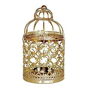 Outflower – Portavelas de estilo vintage, diseño de jaula de pájaros, Aleación, dorado, 8*8*14 cm