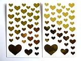 Oro Lucido Autoadesivi Del Cuore - Bambini / bambini Etichette per sacchetti per feste , collage , produttore di biglietti o taccuino decorazione