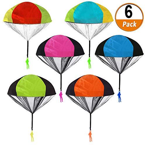 Heqishun 6 Piezas Juguetes de Paracaídas con Soldados Juguetes Voladores Set de Paracaídas Tiro de la Mano Paracaídas de Hombres Juguetes de Vuelo al Aire Libre para Niños