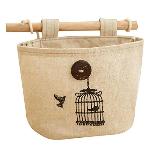 Bovake Wand-Tür-Hänge Organizer Container Bedside Kleiderschrank Aufbewahrungstasche Tasche (Colour A) (Krone Vogelkäfig)