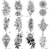 COKTAK 12 Blätter Sexy Realistische Blume TemporäRe Tattoos FüR Frauen...
