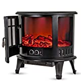 LIVIVO Log Effect Electric Stove Fire Heater, 1800W, Independent Light and Heat Controls, Automatic Safety Cut-Out (Panoramic)
