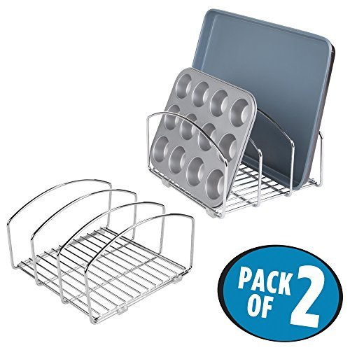 mDesign Kitchen Cookware Organizer for Cutting Boards and Cookie/Baking Sheets - Pack of 2, Chrome