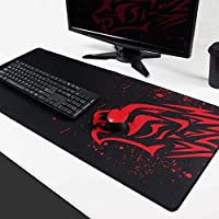 Extended Large Gaming Mouse Pad XXL (900 x 400mm) Thick Non-Slip Rubber Base Mouse pad Mice Smooth Cloth Surface Keyboard Mouse Pads for Computers (Red Leopard XXL)