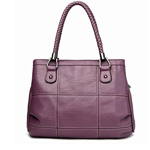 JESSIEKERVIN YY3 Mittleren Alters Handtasche Damen Weiche Leder Mutter Tasche Damen Großraum Umhängetasche Portable Messenger Bag (Color : Purple)