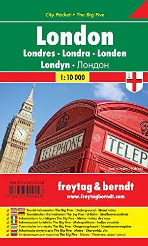 Londres City Pocket, plano callejero plastificado, de bolsillo. Escala 1:10.000. Freytag & Berndt. (City Pocket + The Big Five) por VV.AA.