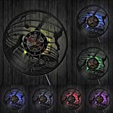 Liafa Guitare Murale Art Horloge Guitare Rock Musique Décor Musique Disque Vinyle Horloge Murale Musique Musique Est La Voix De L'Âme Guitariste Cadeau