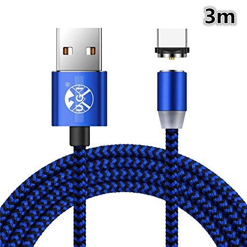 Drehen Sie runde geflochtene magnetische USB C Ladekabel USB 3.1 Typ C Ladegerät Kabel für Samsung Galaxy S8 / S8 + / S9 / S9 + (nur Aufladen) -