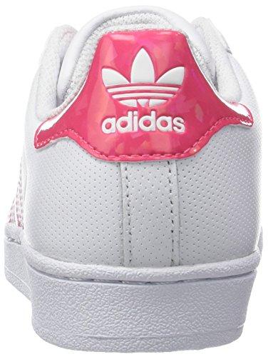 low priced f82a4 be6fd adidas Superstar J, Scarpe da Ginnastica Basse Unisex-Bambini, Bianco Real  Pink Footwear White, 36 2 3 EU