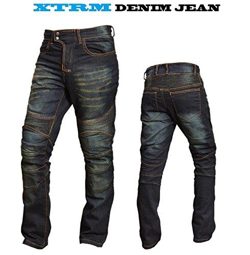 XTRM Motorradjeans Motorrad Kevlar gefüttert Aramid Jeans, Slim-Fit-Design Denim-Jean Motorradhose Herren Damen Jeans mit Schutzfunktion, SCHWARZ, BLAU (Schwarz, W34, InsideLeg31)