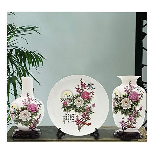ationen, DREI Sätze Jingdezhen-Keramik, kleine Vasen, chinesische Hauptwohnzimmer-Blumen-Anordnungs-Dekorationen, Handwerks-Verzierungen Toy Home Office Table Decoration Gift ()