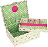 BUTTON IT- NEW FOR 2014 - Country Floral Large Cream Floral Sewing Box with Green Polka Dot Lining