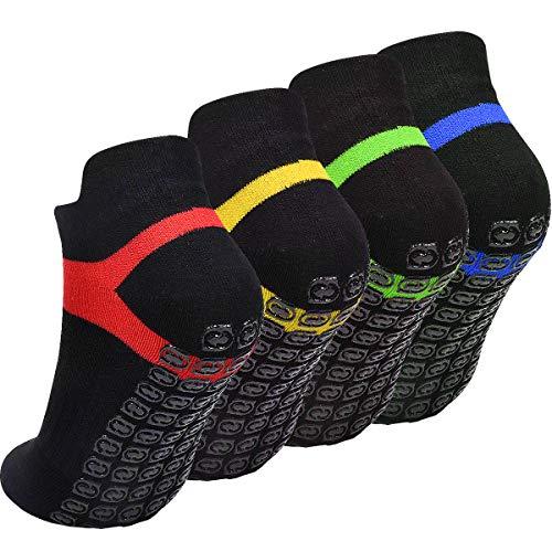 WEONE 4 Paare Yoga Socken Anti Rutsch, Pilates Socken rutschfest für Damen Herren, Größe EU 37-42, Schwarz