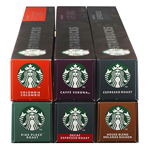 Starbucks Nespresso Komplett Set, Röstkaffee, Nespresso Kompatibel, Alle Sorten, Kaffeekapseln, 6 x 10 Kapseln
