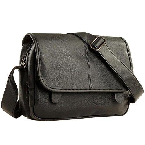 Herren Schultertasche PU Leder Aktentasche Handtaschen Crossbody Messenger Satchel für Reise Freizeit