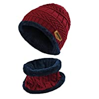 Vbiger Kids Warm Knitted Beanie Hat and Circle Scarf Set, Wine Red, One Size