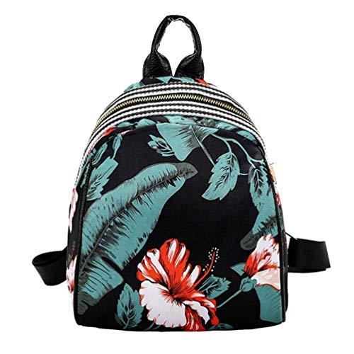 Qiusa 3D Floral Kleine Rucksack Schultasche für Frauen Erwachsene Mädchen, Mode Nylon Sling Leichte Crossbody Stilvolle Design (F) (Farbe : F) -