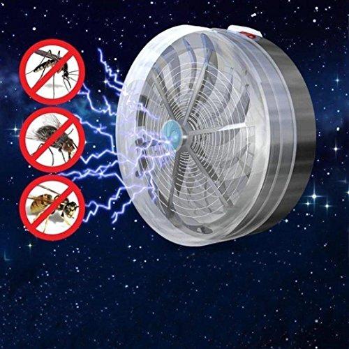Lámpara Antimosquitos Energía solar LED UV Trampa para Insectos del Mosquito del Insecto Exterior No Tóxicos de Escape Bug Zapper la Sala Jardín Insecto Asesina(Control de Plagas para Interiores para) (Negro)