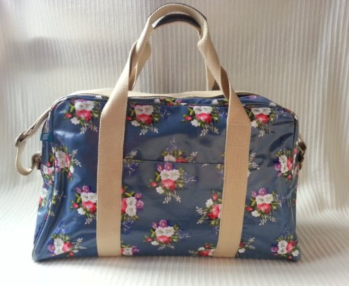 Grand sac à mains ou sac de voyage bleu foncé à fleurs