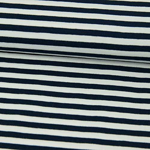 Baumwolljersey Streifen Marine - weiß - Preis Gilt für 0,5 Meter
