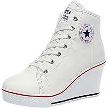 Wealsex Mujer Cuñas Zapatos De Lona High-Top Zapatos Casuales Encaje Talla Grande ...