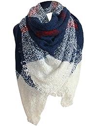 ce0648968e81 foulards, Tefamore Femmes Couverture carrée à carreaux tartan Écharpe Large  Vérifié ...
