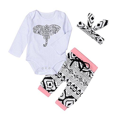 BeautyTop 3Pcs / Set Neugeborene Kleinkind Baby Jungen Mädchen Outfits Kleidung Elefanten Gedruckt Spielanzug Top + Long Hosen + Stirnband Outfit (80/6-12 Monat, Weiß)