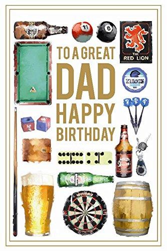 Dad Pub Darts Pool Bier Pint Keg Flasche Domino Design Happy Birthday Karte