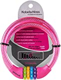 probock Kabelschloss für Kinderfahrrad Laufrad in Rosa mit Zahlenkombination - Zahlenschloss Schloss Maße 10 x 650 mm