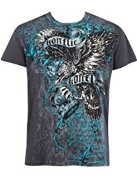 Eagle Clutching Crown Metallic Silver Embossed Short Sleeve Crew Neck Cotton Mens Fashion T-Shirt