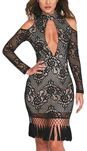 SunIfSnow - Robe spécial grossesse - Moulante - Uni - Manches Longues - Femme Noir