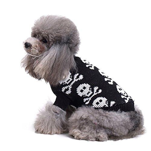 ung Gestrickte Schädel Kopf Pet Kleine Hundebekleidung Warme Weste Brustschutz Rollkragen Mode Jumper Coat Zwei Füße Wear Vest 3 Farbe & 5 Größe (Color : Black, Size : L) (Hund Kostüme 3 Köpfe)