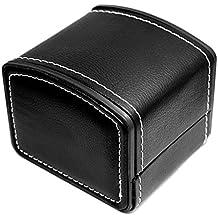 NICERIO Reloj Joyero Organizador, Single Grid PU Cuero Regalo Brazalete Joyero Organizador de almacenamiento, 10 * 9 * 8 cm (L * W * H), Negro