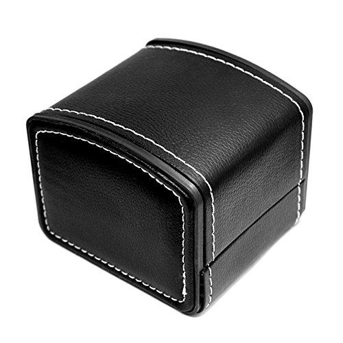 NICERIO Uhr Schmuck Box Organizer, Single Grid PU Leder Geschenk Armband Schmuck Fall Speicherorganisator, 10 * 9 * 8 cm (L * B * H) (schwarz) (Uhr Armband-box Und)