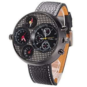 Oulm Men's Large Watch. Dual Time Zones, Compass, Thermometer, Calender - Big 5cm Multi-Function Dial - Long 17-21cm Black Genuine Leather Strap (Round Black)
