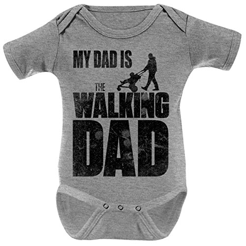 Mikalino Babybody My Dad is the Walking Dad kurzarm, Farbe:heather;Grösse:62