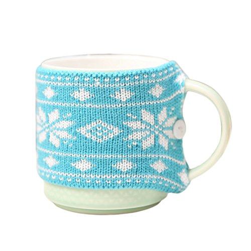 s Cup Ärmel Wiederverwendbare Schneeflocke Weihnachtsbaum Elch Dekor Becher Hülsen Abdeckung ()