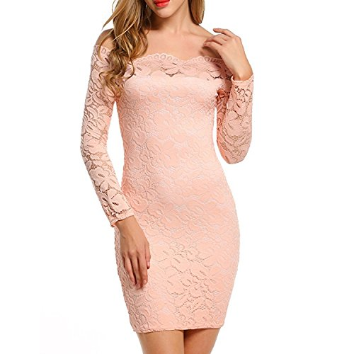 QQI-Women-Off-Shoulder-34-Sleeve-Short-Lace-Dress-Long-Sleeve-Cocktail-Party-Dress-Bodycon-Slim-Mini-Dress-Party-Dress