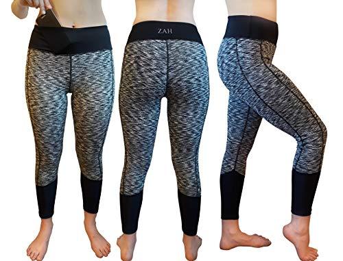 ZAH Sport Hosen, Kompression Hosen für Yoga, Fitness, Gym, Laufen, Gymnastik, Pilates, mit Handytasche, Hohe Taille, Blickdicht (L(42-44), Grau) -