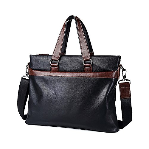 Jia HU 1Herren Leder Laptop Aktentasche portfoli Schulter Messenger Bag Travel Business schwarz